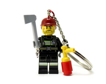 Fireman Keychain - made from new LEGO (r) Minifigure, Firefighter Keychain
