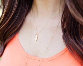 Feather Necklace | Feather Charm Necklace in Gold or Silver