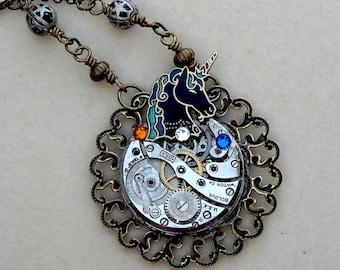 Unicorn Steampunk Pendant Necklace Monoceros Constellation