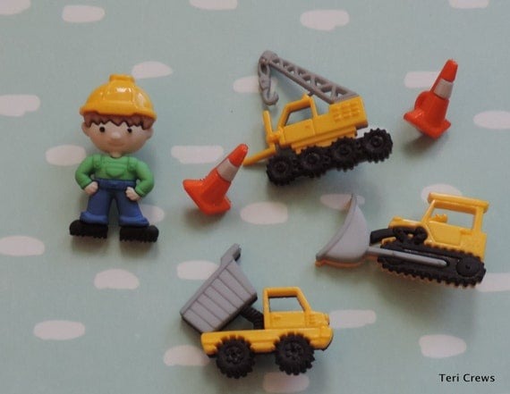 Work Zone Buttons, Packaged Novelty Button Assortment by Dress It Up Jesse James Dump Truck, Crane, Fork Lift & More, Embellishments