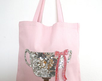 Pink Tote with Sequins- WINNING TROPHY