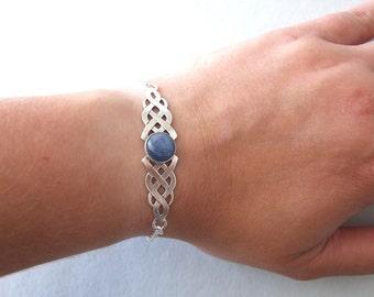 Statement Celtic Bracelet with Gemstone - celtic bracelet , celtic jewelery , elvish bracelet , silver bracelet , elvish jewelry , elven