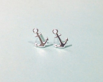 Anchors studs - Tiny sterling silver anchors studs earrings with sterling silver posts