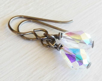 Aurora Borealis Crystal Hypo Allergenic Earrings, Swarovski Crystal Teardrop Nickel Free Earrings, Niobium Jewellery for Sensitive Skin