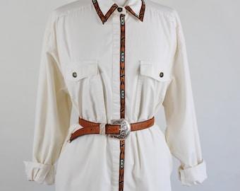 SALE - Vintage 80s Tribal Trim Southwest Cotton Womens Button Down Cotton Shirt
