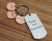 """Personalized, Hand Stamped Dad Penny Keychain with Dog Tag """"You're our Superhero"""""""