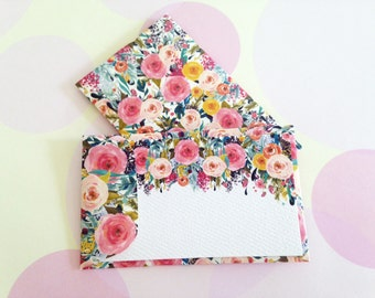 Floral Gift Enclosure Card, Mini Cards and Envelopes, Set of 10