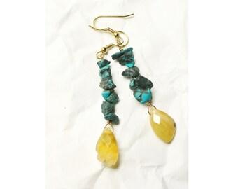Genuine Stone Turquoise and Yellow Peruvian Opal Bohemian Earrings, Sun and Sea
