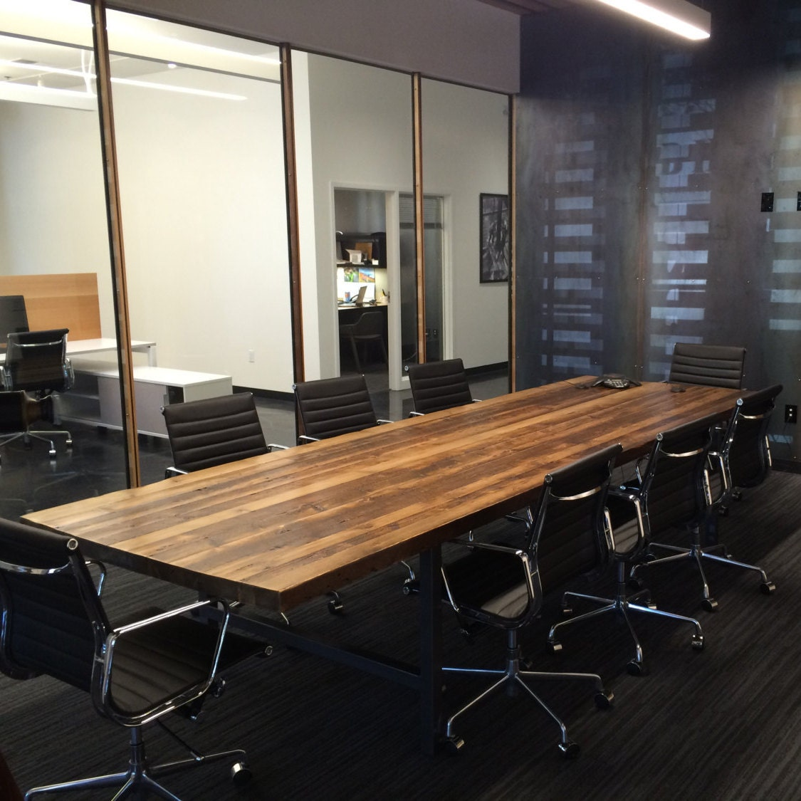 Wood Conference Table In Thick Reclaimed Wood And Steel Legs