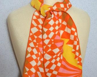 Long vintage scarf: Kaleidoscope Diamonds and Zig Zags Bright Orange, Pink and Yellow