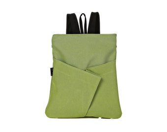 Vegan green Backpack, Women's Everyday Backpack, comfortable stylish purse, cruelty free - Origami inspired