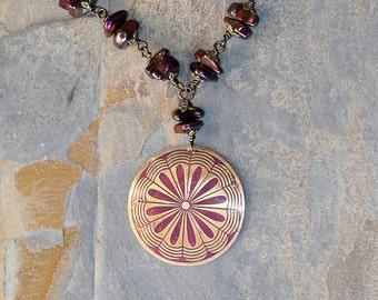 Bohemian Necklace, Plum Purple Medallion Necklace, Brass Necklace, Hematite Necklace, Stone Necklace, Mandala Necklace, Mother's Day Jewelry