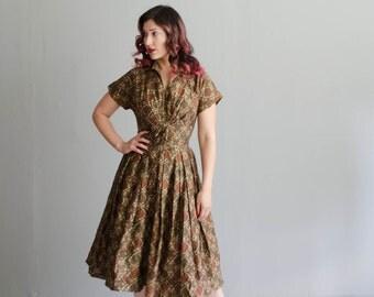 Vintage 1950s Dress - 50s Floral Dress - Crossover Dress