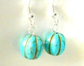 From USA Turquoise Blue Drop Earrings - Sterling Silver Plated Surgical Steel French Hooks