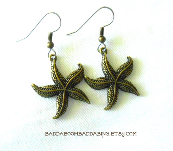 Starfish Sea Star Earrings - Surgical Steel French Hooks  Antiqued Bronze