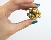OUT OF TOWN - Golden Reflections Beaded Cluster Adjustable Ring Gold Bronze Champagne Mustard Yellow Tan Brown Big Chunky Cocktail Statement