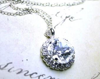 Swarovski Crystal Cushion Cut Stone Pendant in Clear Crystal  - Halo Rhinestone Bezel Necklace - Sterling Silver