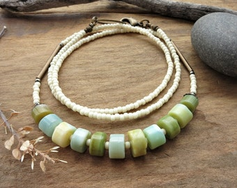 Faux Peruvian Opal Necklace, rustic green and blue everyday necklace with off-white seed beads, Bohemian spring jewelry