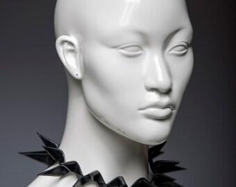 Black spiky leather collar or spike headband crown / Handmade geometrical jewelry / Edgy fashion hairband or leather choker necklace