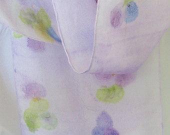 Hand painted silk scarf mauve purple grape design 8x54 long Canada silk scarf