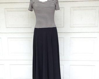 Long Black and White Dress Striped Jersey Short Sleeve Drop Waist Full Skirt Joseph Ribkoff 80s Vintage Maxi Career Secretary Work Dress