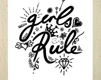 Girls Rule! Typographic print - black. Perfect print for a girls room or nursery. Drawings of hearts, crown, lipstick, diamond, stars...
