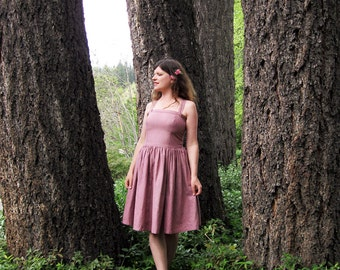 linen sun dress Dusty Rose Hand made and dyed in California