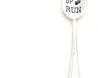RISE and RUN teaspoon. The ORIGINAL Hand Stamped Vintage Coffee & Espresso Spoons™ Unique gift for runner, marathoner, ironman, athlete.