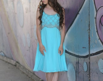 the diamante 60s dress by mike benet in blue turquoise with gray beading small xs medium prom dress cocktail dress mod