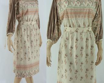1970s Print Boho Dress - Medium Large 70s Bohemian Dress - Vintage Festival Print Day Dress - XL