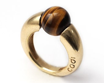 Tiger eye ring in Sterling silver,unique stone ring,Unique silver Ring,  gold ring, gold plated ring, Geometric jewelry, urban jewelry,