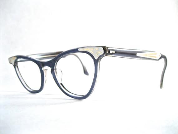 Glasses Frames No Lenses : Blue cat eye glasses. deco plastic ornate frames no lenses.