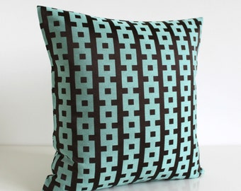 Decorative Pillow, 16 Inch Pillow, Throw Pillow, Pillow Sham, 16x16 Accent Pillow, Pillow Case, Sofa Pillow, Cushion Cover - Chains Teal