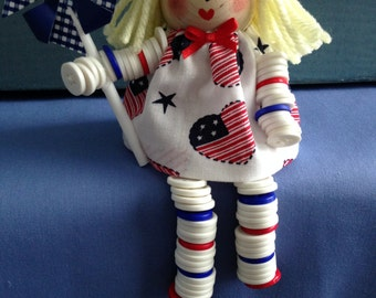4th of July Button Doll