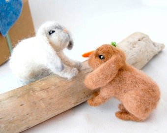 Pair of Felted Bunnies. Wool Needle Felted Animals. Needle Felted Bunny. Felt Animals. Needle Felted Toy. Needle Felted Animal