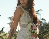 MARALYN Vintage 1950's Slip Dress  Nylon Night Gown Pale Yellow Lingerie Lace and Flowers