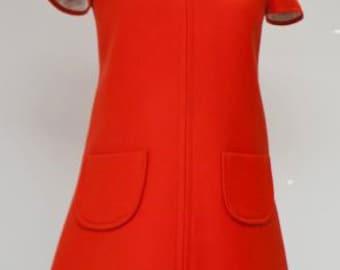 Mod dress soft wool 60s women dress winter repro dress custom made