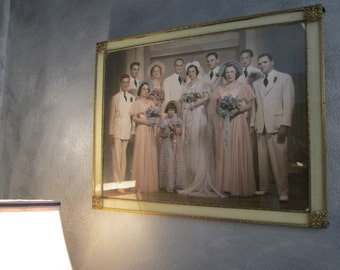 Large Deco Era Wedding Group Photo - Filigree Metal Wall Frame - Hand Colored Pastel Pink and Blue Photograph - Interesting Characters