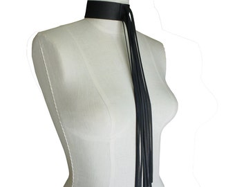 Leather Choker - Black Leather - Fringe Necklace - Wide Leather Choker - Fringe Leather Jewelry - Boho - Goth Necklace - Hippie - Raw Edge