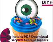DIY Green Eyed Cupcake Toppers Digital Download