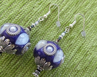 Middle Eastern Looking Bejewelled -I Dream of Jeannie- Hand Made Purple and Silver Bejewelled Earrings