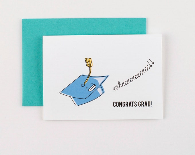 Featured listing image: Flying Graduation Hat  Congrats Greeting Card