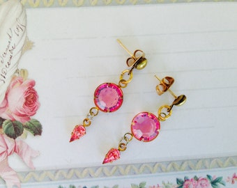 Vintage Swarovski Crystal Earrings, Pink, Dangle Earrings, NBW