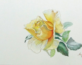 Yellow Rose Watercolor Painting