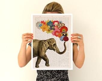 Elephant flower art, Spring celebration Elephant art ,Nursery art, Wall decor , Giclee elephant poster ANI091PA3