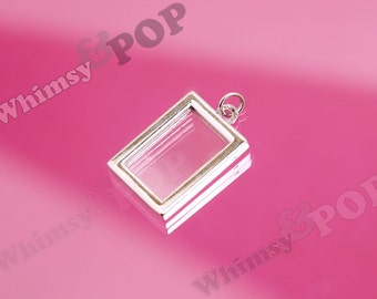 1 - Silver Tone Double-Sided Rectangle Photo Charm, Photo Frame Pendant, Bouquet Charm, Photo Charm, Fits 16.5mm x 10.5mm Photo (R7-091)