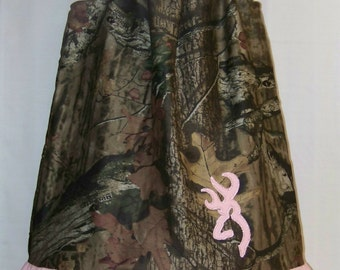 Camo Ruffle Dress / Bling Deer / Pink / Mossy Oak / Rhinestones / Flower Girl / Infant / Baby Girl / Toddler / Custom Boutique Clothing