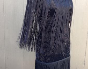 Vtg Flapper Fringe black velvet Dress low back Sz S Ann 'N Eve bodycon stretch