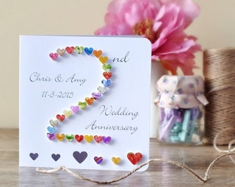 2nd Wedding Anniversary Card, Handmade Personalised Second Anniversary Card, Personalized Husband Wife Card, 2 Wedding Anniversary BHAN02