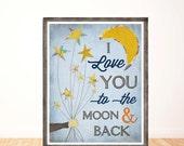 I Love You to the Moon and Back, Baby Boy Nursery, Children's Wall Art, Nursery Decor, Illustration, Print, Boy Room Decor, LilyCole